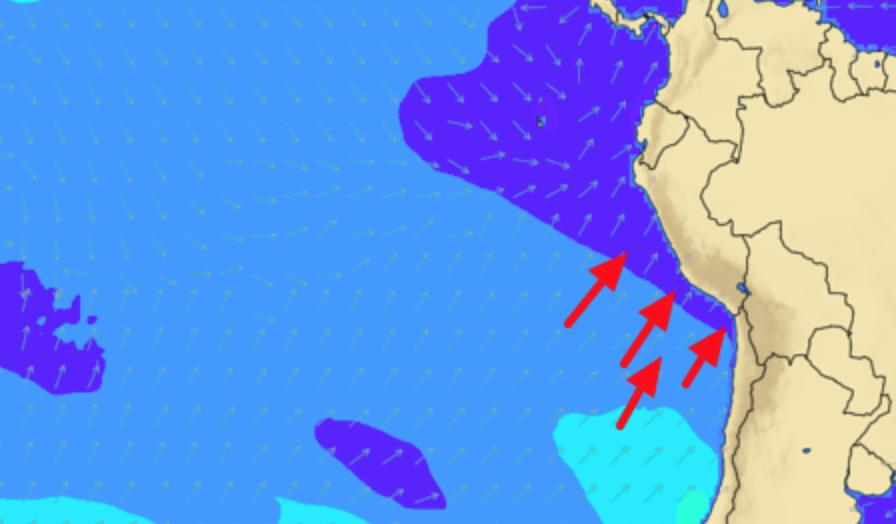 Así llegan las olas para los siguientes días