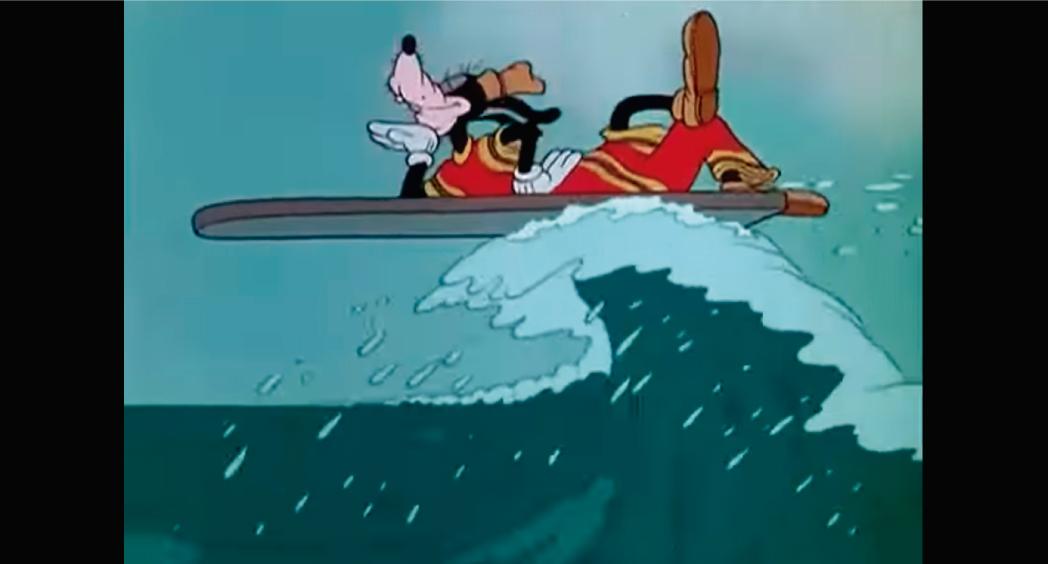 El primer dibujo animado con temática surfer lo hizo Disney, en 1937