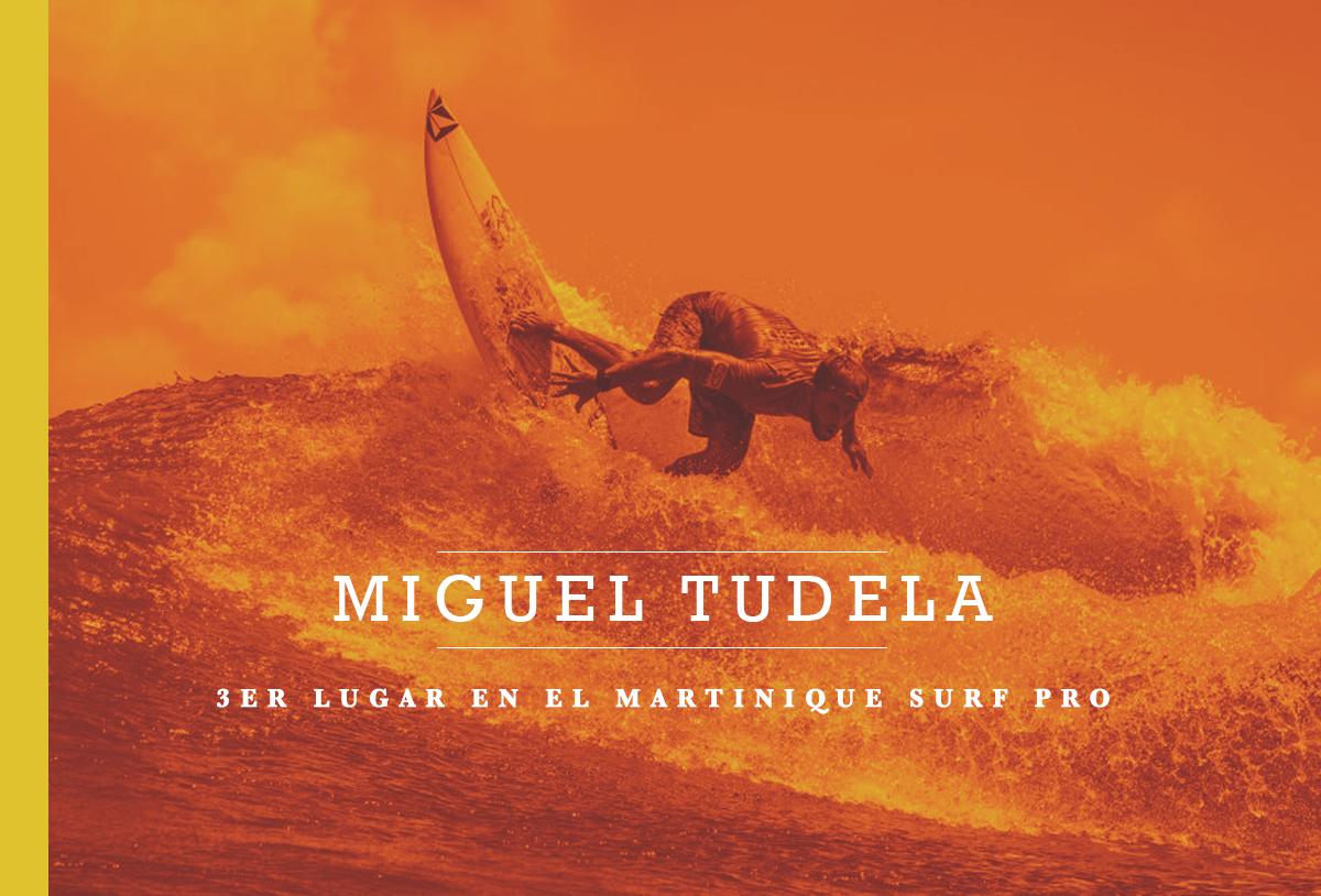 Miguel Tudela 3er lugar en el Martinique Surf Pro