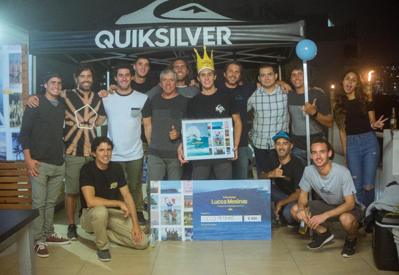 Celebración Quiksilver de la victoria de Lucca Mesinas