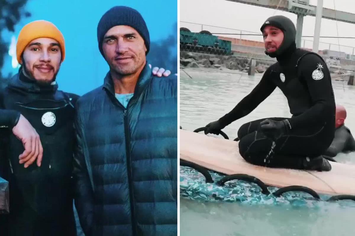 Lewis Hamilton y Kelly Slater juntos en el Surf Ranch