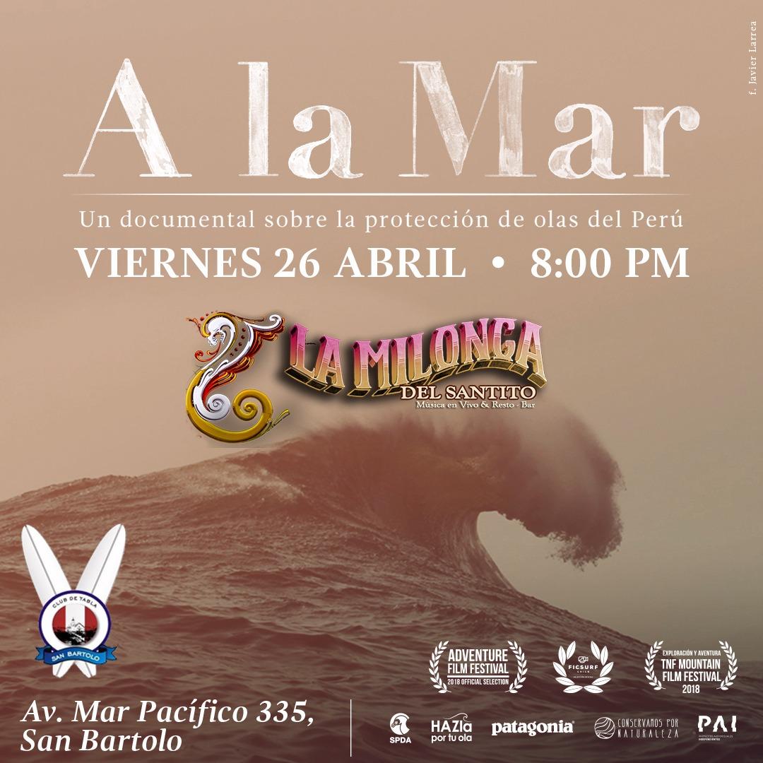 """""""A La Mar"""", este viernes 26 de abril en San Bartolo"""