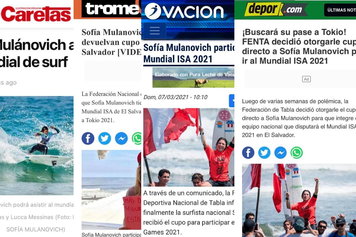 Así informó la prensa el cupo directo de Sofía Mulanovich al mundial de El Salvador